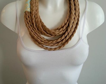 T-shirt scarf, t-shirt necklace, braided scarf, fabric scarf, fabric necklace
