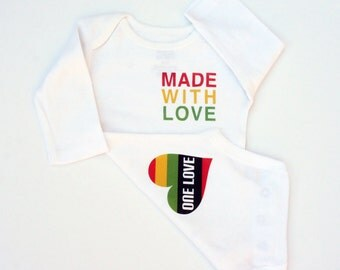 Made With Love Bodysuit/ ONE LOVE / Baby One Piece / Bob Marley Baby