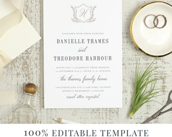 Printable Wedding Invitation Template, Word or Pages, MAC or PC, Laurel Monogram, Calligraphy, Handwritten, Instant DOWNLOAD