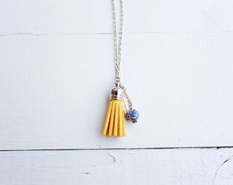 Silk Road - Diffuser Tassel Necklace | Mustard Yellow Tassel Diffuser | Feather Charm | Oriental Bead