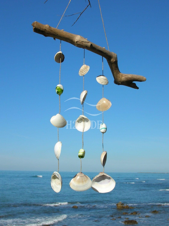Acchiappasogni sonagli al vento legno di mare conchiglie spago for Arredamento marino fai da te