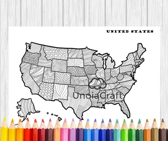 USA Map Coloring Page Usa Map Wall Art Adult Coloring - Coloring us map