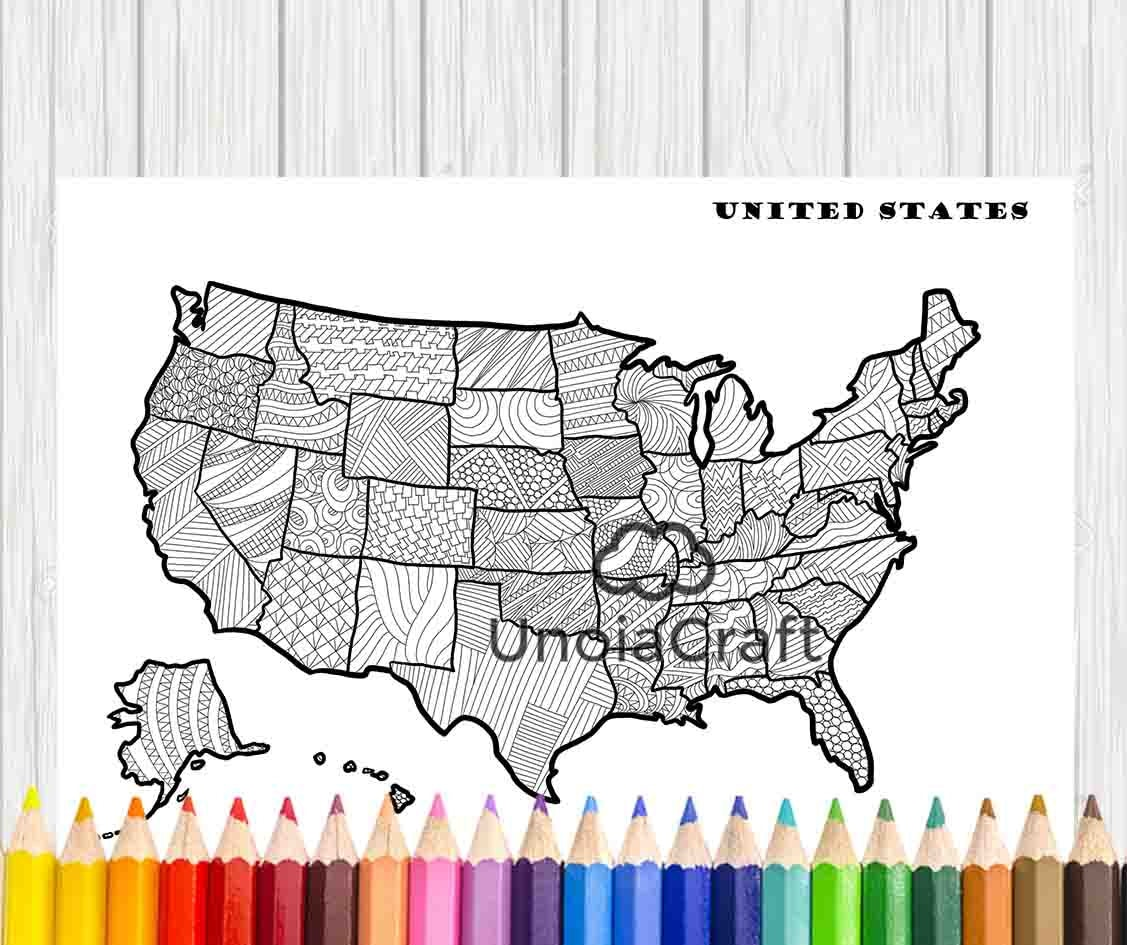 Swear word coloring book sarah bigwood - Usa Map Coloring Page Usa Map Wall Art Adult Coloring Sheets Zentangle Art Coloring Pattern Pdf Instant Download Color Color Therapy