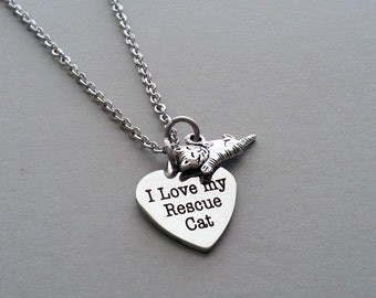 Cat Necklace, Cat Charm, Cat Lover, Cat Person Necklace, Cat Rescue, I Love My Rescue Cat, Animal Rescue, Cat Jewelry, Stainless Steel Chain