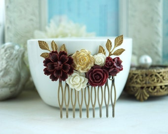Wedding Hair Comb, Burgundy, Ivory Shade Flowers,  Maroon Red and Gold Wedding, Masala Red Ivory Gold Rose Flower Hair Piece Bridesmaids