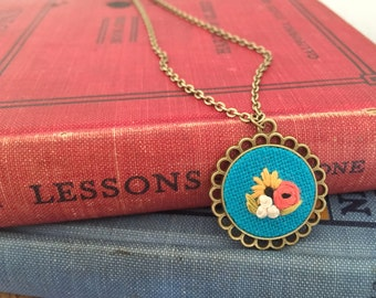 Floral Pendant in Turquoise | hand embroidered necklace, turquoise, coral, sunflower, bouquet,