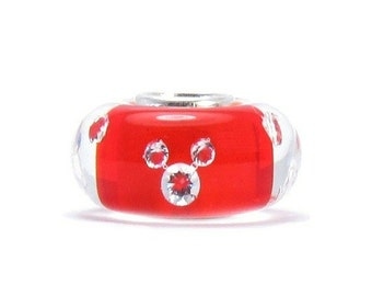 Red Murano Glass CZ MICKEY MINNIE Bead 925 Sterling Silver Charm - Fits: Pandora, Charmed Memories, Chamilia and Compatible Brands  R-39