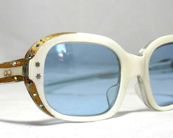 Vintage 60s Sunglasses. New Old Stock Beautiful White and Gold Frames with Blue Lenses