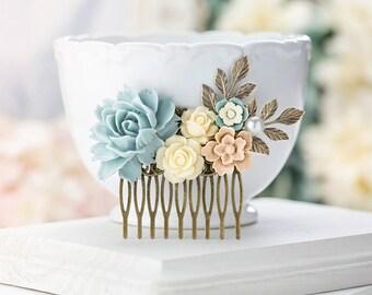 Bridal Hair Comb Powder Blue Ivory Latte Brown Wedding Hairpiece Dusty Blue Bridal Headpiece Woodland Country Barn Wedding Hair Accessory