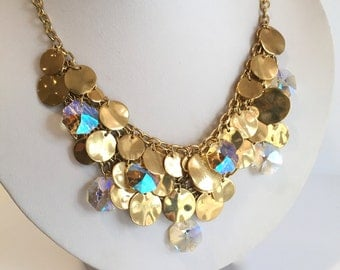 Aurora Borealis and Gold Charm Bib Necklace Chainmaille Bracelet Statement Necklace Gold Dangle Necklace Crystal Dangle Necklace