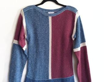 Color Block Boatneck Sweater Silk Blend