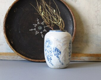 Vintage studio pottery vase, white and blue ceramic vase, flower vase