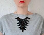 Black statement leather necklace - Black crow necklace patent leather - wing necklace - Black Bib necklace  - Black leather necklace