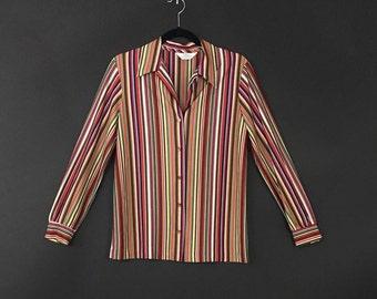 70's Sears Multicolor Striped Woven Button Up