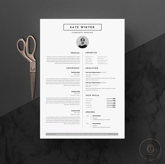 minimalist resume template  u0026 cover letter icon set for