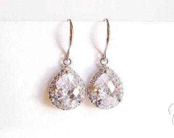 Silver Crystal Wedding Earrings - Clear Small Teardrop Dangle Earrings - Dainty Delicate Bridal Jewellery - Bridesmaids, Maid of Honour Gift