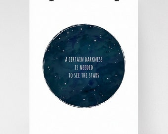 A certain darkness is needed to see the stars, inspirational quote wall art, osho quote, zen art print, starry night
