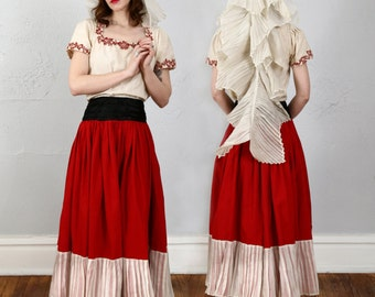 SALE- Antique Red Wedding Ensemble Eastern European Traditional Dress