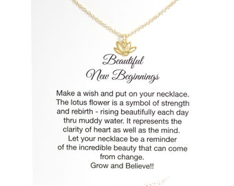 Encouragement Gift, Lotus Necklace Gold, Encouragement Jewelry and Card, Bridesmaid Necklace