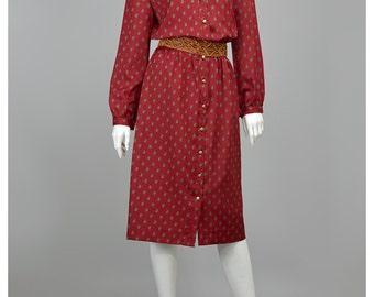 Vintage Shirt Dress Maroon Paisley Dress Leslie Fay 70s Dress Brass Button Up Dress Long Sleeve Midi Dress 1970s Dress Secretary Dress (M)
