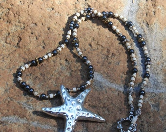 Hematite necklace - Fall necklace - Boho necklace - Fall style - Fall trend  - Starfish pendant - free shipping - sea necklace - pendant
