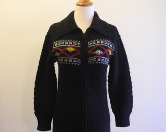 Ethnic pattern zip front black knit sweater jacket sz. XS Small
