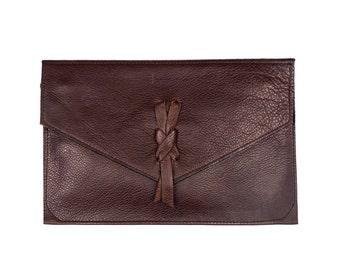 LOUISA Brown Leather Envelope Clutch. Brown Leather Wallet. Brown Leather Clutch. Brown Leather Bag