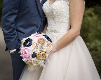 Peony brooch bouquet. navy, blush, champagne, gold and burlap heirloom rhinestone brooch wedding bouquet.