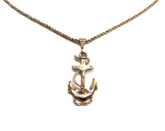 Gold Anchor Necklace, Nautical Jewelry, Nautical Accessories, Anchor Jewelry, Vintage Anchor Necklace