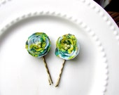 2 Floral Bobby Pins Spring Hair Accessories, Small Floral Hair Pins, Mini Flower Hair Clip for Girls, Green, Yellow, Hair Flower, Easter