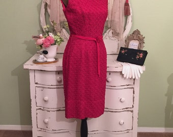 Elegant 50s Dress, 1950s Evening Dress, Hollywood Glam, MS/M, Sleeveless Summer Dress, Red Hourglass Dress, Vintage Wiggle Dress, Medium