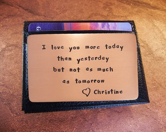 4th Anniversary,Rustic Copper, Anniversary Gift, Personalized Wallet Insert Card, Copper Wallet Insert, Love Reminder Card