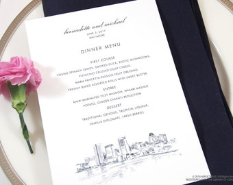 Baltimore Skyline Dinner Menus (Sold in sets of 25)