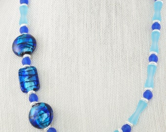 Sea Glass and Lampwork bead necklace, Navy Lampwork bead necklace, Recycled Sea Glass Necklace, Blue Necklace, Free Shipping, Item #351