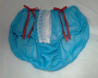 PH11N162 Blue Lingerie Fantasy underwear sheer nylon women bow briefs panties Lace knickers Free Shipping