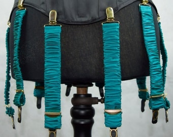 Detachable Silk Covered Suspenders - Turquoise and Gold (Set of 10)