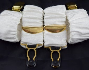 Pair of Detatchable Silk Covered Suspenders - White and gold