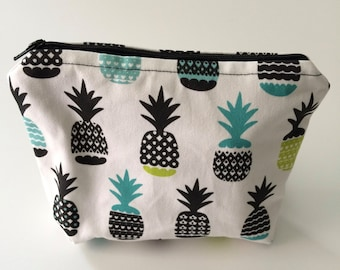 Pineapples Flat Bottom Zipper Pouch - Large
