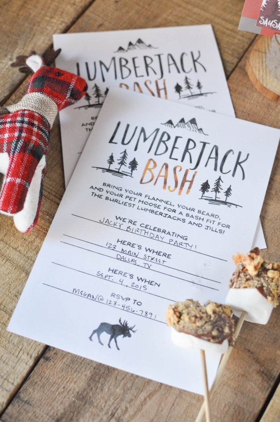 DIY Lumberjack Bash Party Invitations - Printable, Instant Download, Birthday Party, Rustic & Burly Mountain Party Invitation