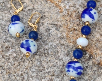 Beaded Necklace and Earrings, Cobalt Blue, White, Gold