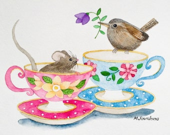 "Two for Tea, Original Watercolor Painting, 6""X8"""