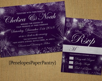 Elegant Purple New Year's Eve Wedding Invitation,Purple,Silver,Purple and Silver,Firework Bursts,Shimmery,Printed Invitation,Wedding Set