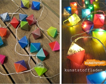 20er LED light-chain with handmade lampshades / lanterns in octahedron form