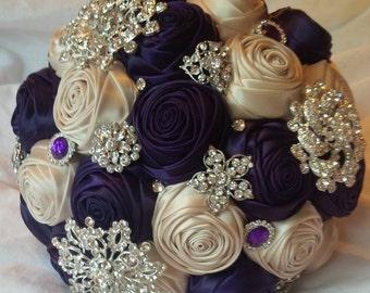 Satin rose bride bouquet