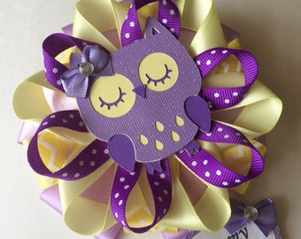Owl baby shower corsage/Purple and yellow Owl baby shower corsage/Owl Mommy to be corsage/Owl Grandma to be corsage