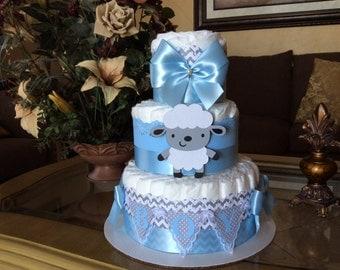 Boy diaper cake/lamb diaper cake/Grey chevron and light blue lamb diaper cake/Lamb baby shower centerpiece/Boy baby shower centerpiece /
