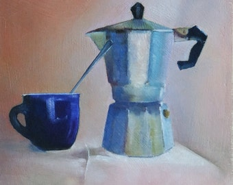 Original small oil painting of an Italian coffee pot and blue cup