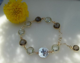 Bracelet with Amethyst & smoky quartz on 585-er gold filled!