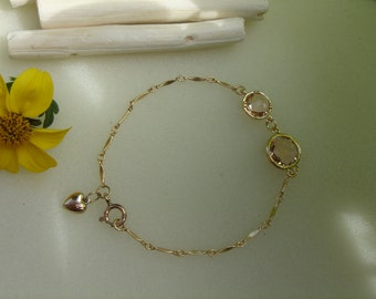 Gold Bracelet, 585 gold filled, very sweet with apricot and heart crystal glass