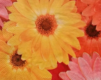 Set of 2 pcs 3-ply ''Gerbera'' paper napkins for Decoupage or collectibles 33x33cm, Floral napkins